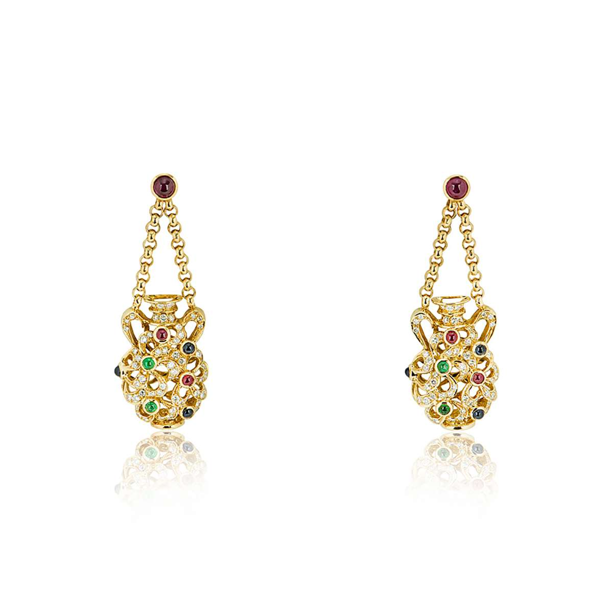 Yellow Gold Multi-Gemstone and Diamond Vase Earrings
